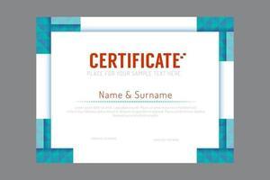 Certificate template geometric frame design vector. vector