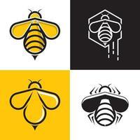 Bee logo template vector icon set
