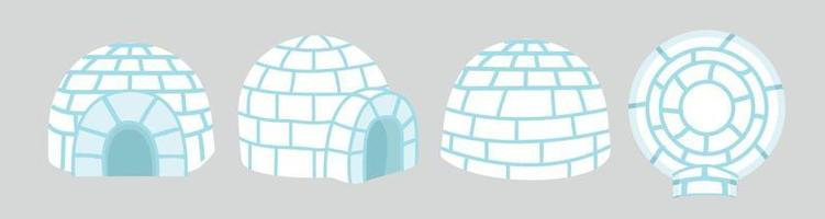 Igloo ice house in flat design 3d vector