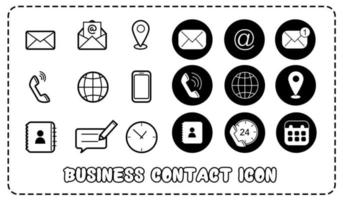 Flat style of Contact us vector line icon set for Business and Web Design.