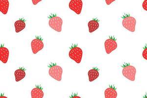 Fresa fresca de patrones sin fisuras diseño blanco vector