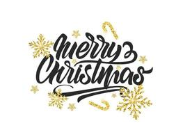 Glitter texture snowflake on Merry Christmas banner with lettering vector