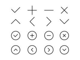Navigation Arrow and mathematics icons. Flat line stroke Icons set. vector