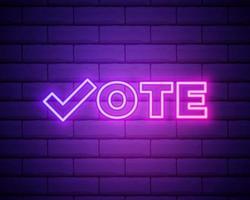 Vote symbols. Check mark icon. Vote label. Neon icon vector