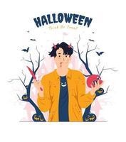 Man with blood splash holding knife on Halloween concept illustration vector