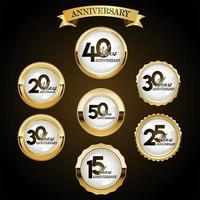 A collection of various anniversary labels design vector
