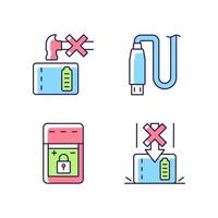 Powerbank for gadget user RGB color manual label icons set vector