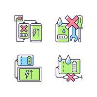 Powerbank use RGB color manual label icons set vector