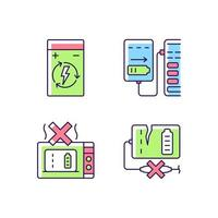 Effective portable charger use RGB color manual label icons set vector