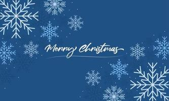 Christmas poster with shiny silver snowflakes on a blue background. vector