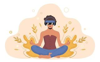 Young woman in lotus position practices yoga with VR glasses. Technologies for the future of mental and physical health. Trendy flat vector illustration