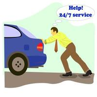 Office man broken engine pushes blue car service and asks for help vector