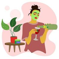 girl in green cosmetic mask face, wine into glass. home spa procedure vector