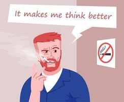 Ilustración de vector de color plano de fumador pesado