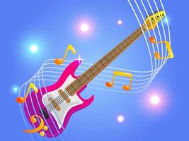 guitar with elegant musical notes music vector