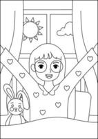 coloring page illustration for kids activity book vector