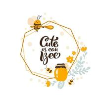 Summer poster with text Cute as can bee in a polygonal frame vector