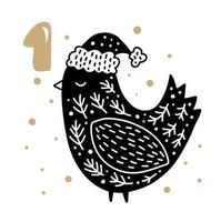 Advent calendar with cute scandinavian hand drawn vector. Twenty-four days before Christmas. First Day. Illustration of bird in winter hat vector