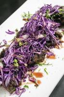 Carne guisada gourmet con plato de chucrut de col lombarda marinada en Alemania foto