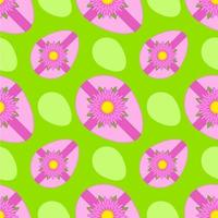 Colorful seamless pattern of sweet Easter eggs tied with ribbon on green background. Simple flat vector illustration. For the design of paper wallpapers, fabric, wrapping paper, covers, web sites