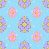 Colorful seamless pattern of sweet Easter eggs on a light background. Simple flat vector illustration. For the design of paper wallpapers, fabric, wrapping paper, covers, web sites