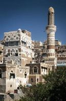 traditional architecture buildings view in sanaa city old town in yemen photo