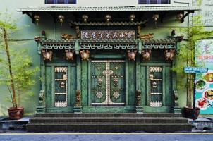chinese traditional building facade architecture in penang malaysia photo