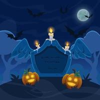 An old stone grave with candles on cemetry. Full moon night with bats on sky and pumpkins. Halloween illustration. vector