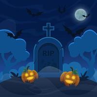 Cartoon stone grave on hill at night. Halloween graveyard with pumpkin lanterns. Full moon sky with flying bats illustration vector