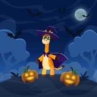 Cartoon giraffe magican standing on the hill in forest. Halloween illustration with funny pimpkin lanterns. Night sky with full moon and flying bats vector