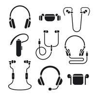 earphones icon set vector