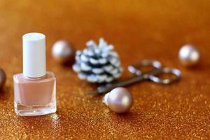 Christmas and New Year manicure set, nail care polish for holidays photo