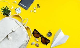 Summer travel concept. Traveler's accessories. Passport, money, sunglasses on a yellow background. Flatlay. photo