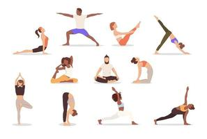 Set of poses woman and man yoga. Collection of multicultural people doing yoga isolated on white background. Vector illustration, eps 10