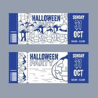set of halloween ticket vector