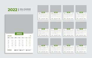 Modern 2022 wall calendar design template Pro Vector