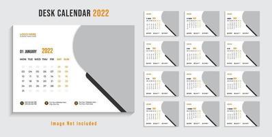 Modern 2022 desk calendar design template Pro Vector