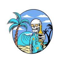 Skull in summer on beach vector