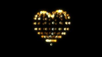 coração de malha de arame de glitter dourado gire o círculo de brilho em fundo preto video