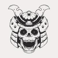 monochrome skull samurai helmet illustration vector