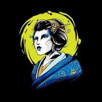 ilustración de kimono de geisha vector