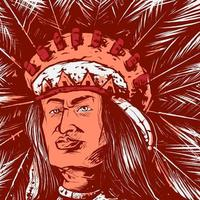indian head vector illustration in vintage, old classic style