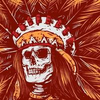 skull indian vector illustration in vintage, old classic style