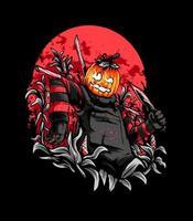 Pumpkin Scarecrow Illustration vector