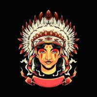 Apache girl Illustration vector