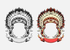 Apache chief hat Illustration set vector