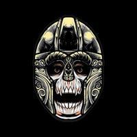 skull viking helmet Vector Illustration