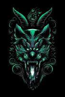 satanic wolf t shirt illustration vector