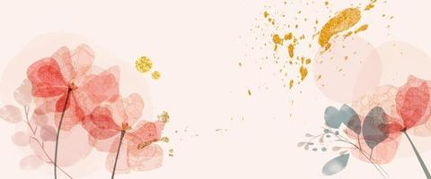 Watercolor with line flower abstract template banner background vector