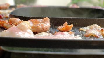 primer plano, manos de mujer cocinando, asando a la parrilla buffets de carne fresca como puercos, calamares y rebanadas de tocino en una sartén ahumada caliente. La cocina de barbacoa o shabu es una comida sabrosa para picnics y almuerzos. video